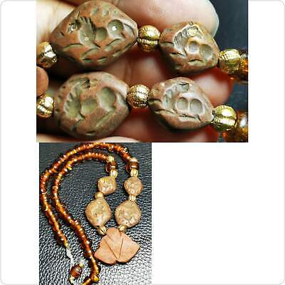 Old Glass Beads Necklace with 4 intaglio seal stone beads  # 95