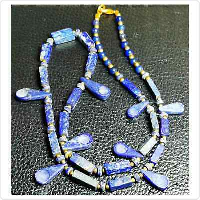 Lovely Necklace with Old Roman Lapis lazuli spoon stone BEADS  # 95