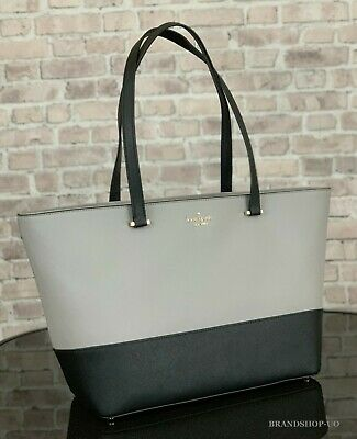 KATE SPADE NEW YORK KRISTEN LEATHER MEDIUM TOTE SHOULDER BAG $299 in Black/Taupe