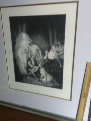 Large Norman Lindsay facsimile etching with coa