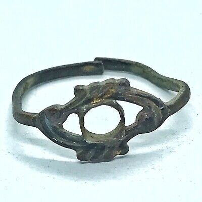 Ancient Or Medieval Brass Ring European Metal Detector Find Artifact Antique H
