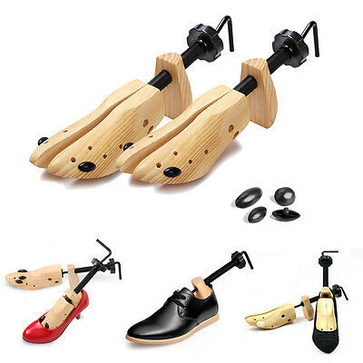 Unisex Mens Womens 2-Way Shoe Stretcher Adjustable Width Wooden Metal Shoes Boot