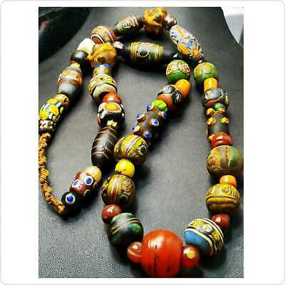 Unique  Ancient Roman Islamic Mixed Mosaic Glass Beads Strand Necklace