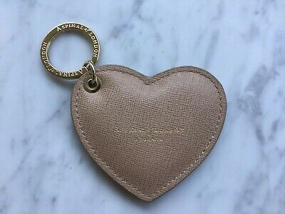 Stunning Aspinal of London Womens Beige Leather Stamped Heart Keyring / Keychain