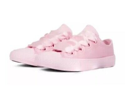 Girls Size 11 UK CONVERSE ALL STAR PINK RIBBON SATIN TRAINERS PUMPS