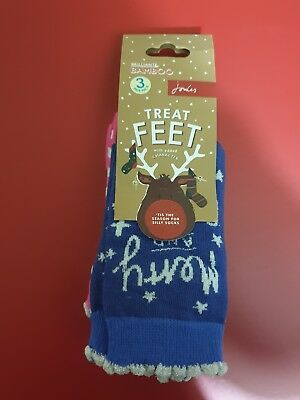 Joules Junior Treat Feet 3 pk Festive Socks - UK 13-3, new with tags