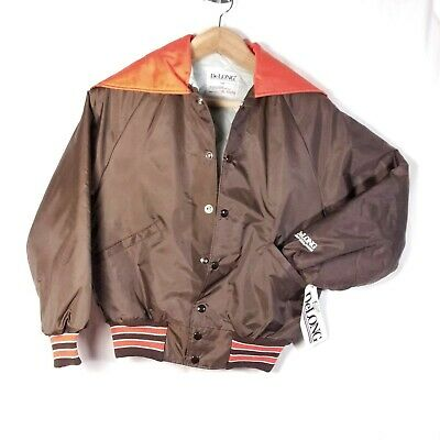 Vintage 90s DeLong Youth Extra Large XL Girls Satin Nylon Jacket Brown Orange