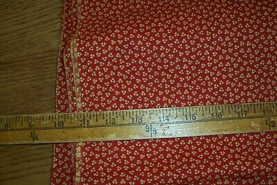 Vtg Antique 19th Century 1800's Turkey Red Calico Dress Quilt Cotton fabric