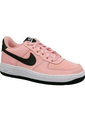 Ladies Girls Nike Air Force 1 GS Low Top Baby Pink Black Trainers UK Size 5