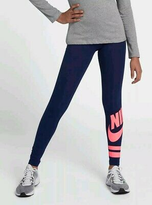 Nike Girls Junior Club Logo Gym Running Leggings Training Navy Pink Age 10 11 12