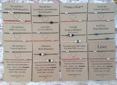 Couples/ His & Her's Wish bracelet & charms,Lava, Stars,infinity, Distance,Love,