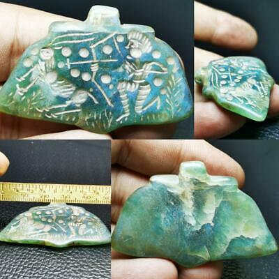 Near Eastern Old wonderful Intaglio Hunter Jade stone Amulet # 96