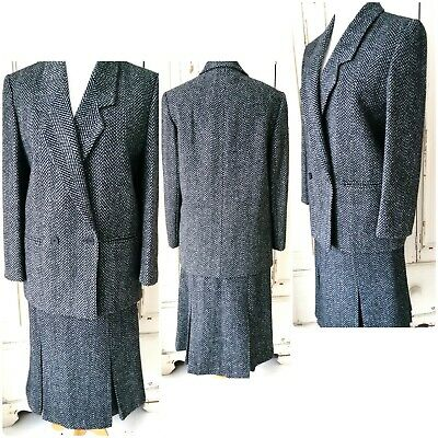 ST MICHAEL M&S VINTAGE Wool Suit Skirt Jacket Sz 12 current sz  8/10 Grey Black