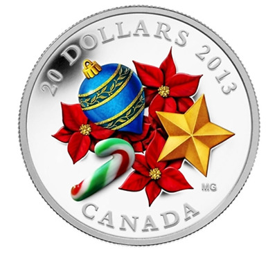 1 oz. Fine Silver Coin - Holiday Season with Venetian Glass Candy Cane 2013
