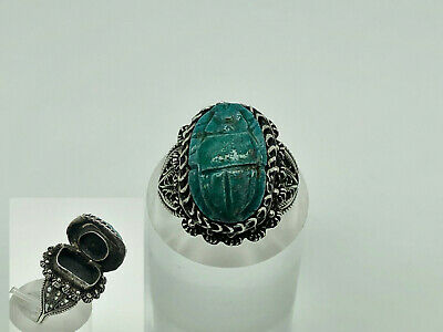 Rare Vintage Art Deco Egyptian Solid Silver Faience Scarab Poison Ring Size O