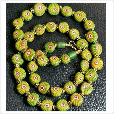 Lovely Necklace With Old Roman Mosaic Eye Glass Beads  # 96