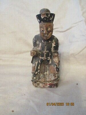 Antique Chinese Wood Carved Nobleman Statue Figure Warrior