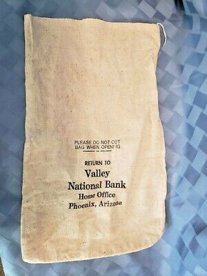 Vintage Cloth Valley National Bank of Phoenix, Arizona Home Office Money bag