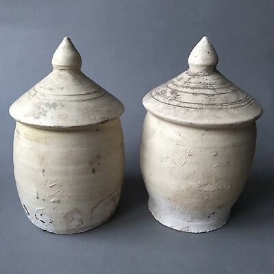 Ancient China Song Dynasty Pair Of Partly Glazed Model Of Grain Storages