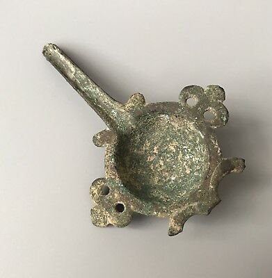 SCARCE Ancient Byzantine Bronze Oil Lamp Filler With Decorations 8th-10th Cent.
