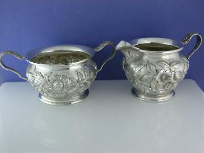 Sterling S KIRK & SON CO Creamer & Sugar Bowl REPOUSSE floral 925/1000 no.188