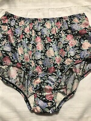Vintage Heiress Floral High Waisted Satin Panties SIze 6 USA Silky Shiny Poly