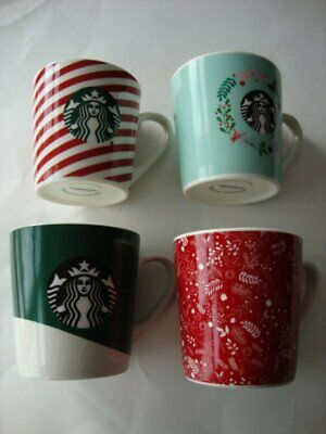 Starbucks Christmas Holiday 2019 Hot Beverage Mug Cup Red Green Blue x 4 - NEW