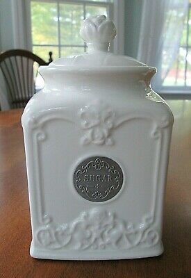 THL Farmhouse Sugar Canister Rose Top Classic French Chic Home Kitchen Decor