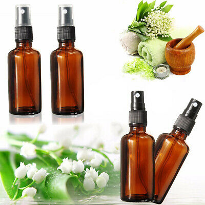 5pcs 30ml Amber Glass Essential Oil Spray Bottles Mist Sprayer Containers Tool N