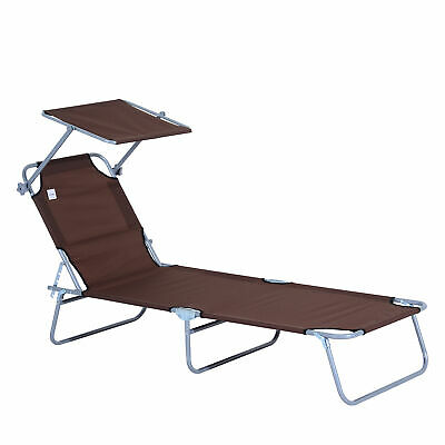 Outsunny Garden Folding Chair Sun Lounger Bed Outdoor Recliner Seat w/ Sunshade