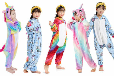 Kids Unicorn Pyjamas Rainbow Kigurumi Animal Cosplay Costumes Onsie28 Sleepwears