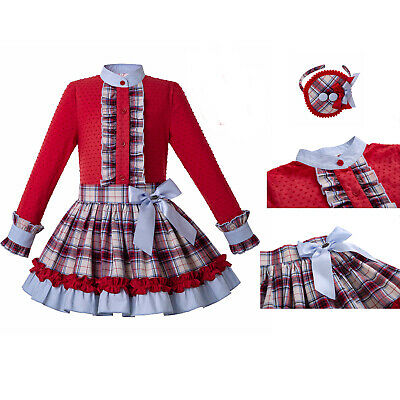 Kids Girl Spanish Red Blouse Plaid Skirt Headband Bridesmaid Dress Wedding Party