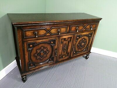 An Antique Early 20th Century Oak Sideboard Cabinet ~Delivery Available~