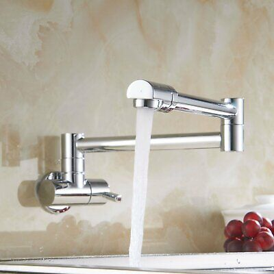 Chrome Wall Mount Pot Filler Commercial Kitchen Faucet 2 Handles Tap W/Swing Arm
