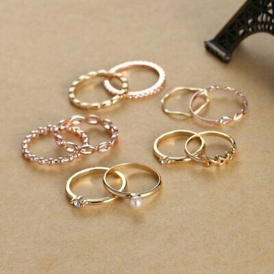 Fashion Gold Stack Plain Crystal Joint Above Knuckle Ring Midi Finger Set Gifts