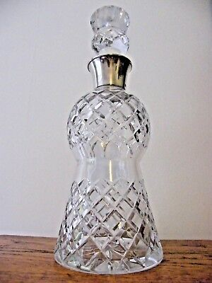 A Large Hand Cut Lead Crystal Thistle Hallmarked Silver Collar Decanter