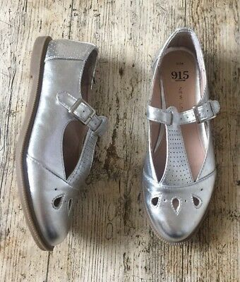 NEW LOOK 915 ~ Girls Womens Silver Metallic T-Bar Flat Shoes Buckle Strap Size 3