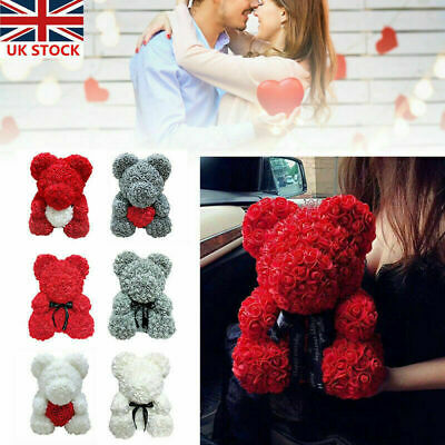 25-40cm Rose Flower Bear Toys Teddy Birthday Valentines Wedding Anniversary Gift