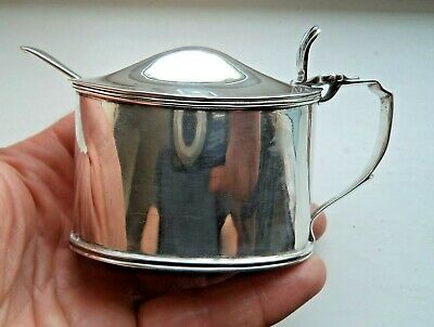 Large Antique George V London 1912 Solid Silver Mustard Pot & Spoon