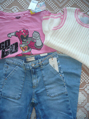 BNWT Next Girls Bundle/ Jeans/ Power Rangers T-shirt & Knitted Top/ Age 12 years