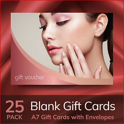 Gift Voucher Beauty Salon Blank Card Nails Manicure Makeup 25x -  A7 + Envelopes