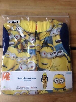 Minions Front Print Onesy Pyjamas All-in-One Onzie 3-4 years old NEW.