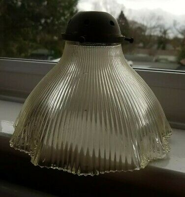 Vintage Edwardian Victorian Glass Holophane Prismatic Light Fitting With...