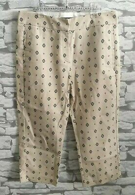 M&S marks & spencer Crop Cotton Trousers Size 12 short Stone
