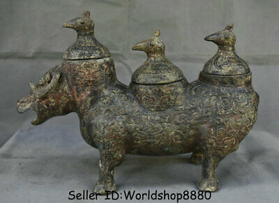 "16"" Ancient Old Chinese Bronze Ware Dynasty Beast Zun Birds Lids drinking vessel"