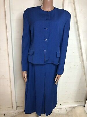 Vintage JAEGER Blue Skirt Suit 1980s Bold Statement Piece