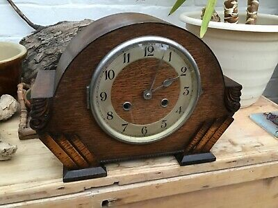 Art Deco Chiming Mantel Clock by L W Nichol Clock Makers Scarborough