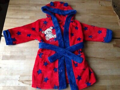 BHS Boys Girls Red Blue Star Hooded Dressing Gown 9-12 months VGC