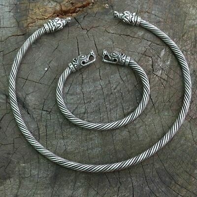 Viking Wolf Head Neck Ring Ragnar Handmade Heavy Twisted Brass Wire Bracelet
