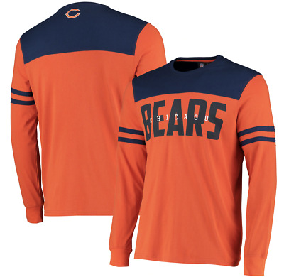 Fanatics Chicago Bears NFL 2019 Cut & Sew Panelled Long Sleeve Orange T-Shirt